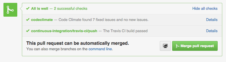 Immediate results,<br /> right in your pull requests.
